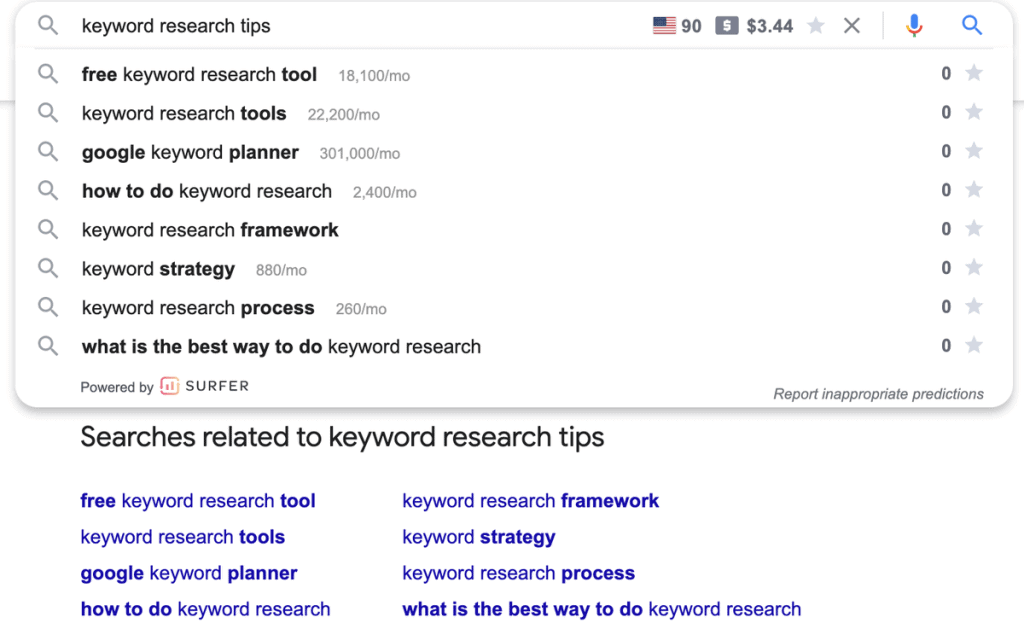 Getting blogging keyword ideas from Google related search suggestions