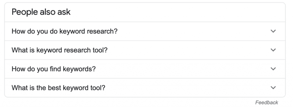 Keyword Research Using Google People Also Asked Box