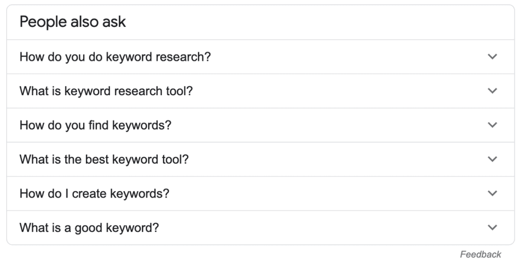 Keyword research using the Google people also asked widget
