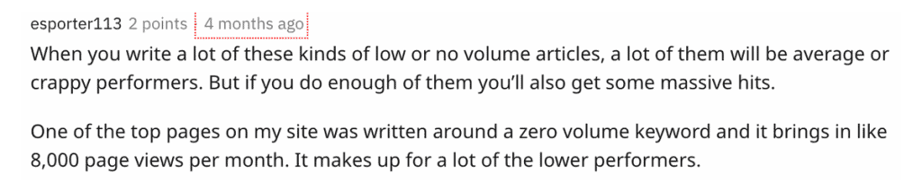 A comment on Reddit confirming that one of their articles using the zero search volume keyword research strategy is brining them 8000 organic traffic hits from Google per month.
