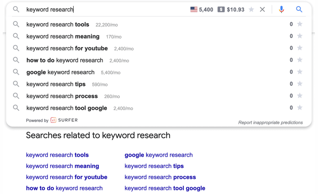 Using the Google related searches for keyword research term suggestions.